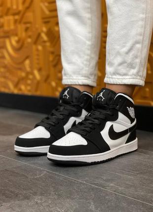 Женские кроссовки nike air jordan high s black/white, чорно белые кожаные кеды, жвночі шкіряні кросівки
