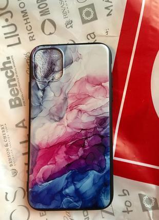 Новый чехол на айфон 11 мрамор разноцветный