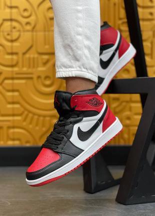 Женские кроссовки nike air jordan high s black/red, кожаные кеди, жіночі кросівки