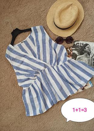 Шикарный хлопковый полосатый топ с воланом/блузка/блуза/кофточка