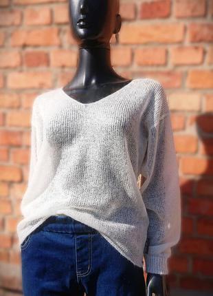 Светр пуловер білий мохер свитер паутинка