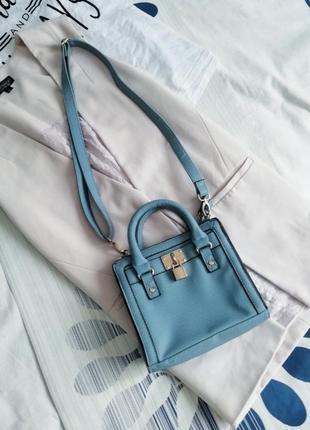 Голубая маленькая сумочка сумка кросс боди клатч кроссбоди блакитна маленька крос боді