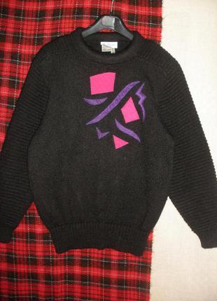 Теплый свитер шерсть акрил bellino  объемные рукава аппликация