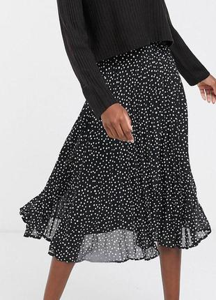 Шикарная миди юбка в горошек/новая  юбка  плиссе