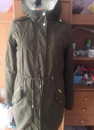 Куртка, парка, на осень, внутри подстежка шерпа+синтепон,   mango