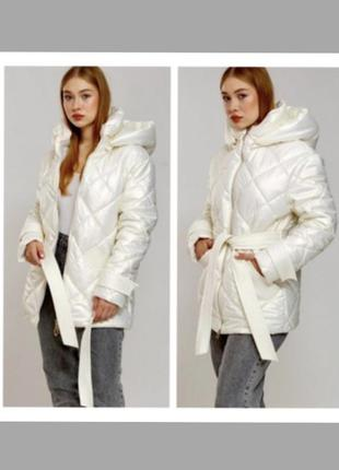 Alberto bini куртка белая куртка светлая стеганая пуховик с капюшоном куртка біла