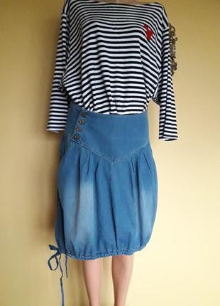 Джинсовая юбка -баллон,в стиле бохо,nikitadenim