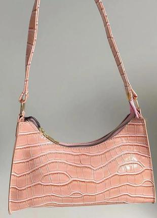 Сумка сумочка клатч багет ретро винтаж розовая рожева