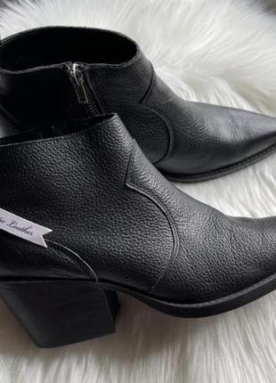 Mango шкіряні козаки/ низькі козаки/ черевики шкіряні/ козаки кожаные