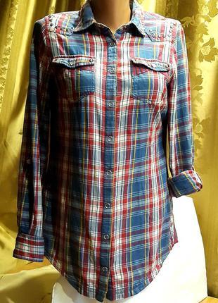 Брендовая рубашка в клетку на кнопках с металлическими клепками./  h! / by henry holland
