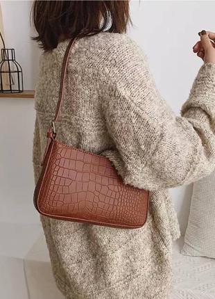 Сумка сумочка багет квадратная коричневая клатч винтаж ретро крокодил рельеф
