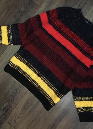 Papaya тёплый оверсайз свитер в полоску пушистый