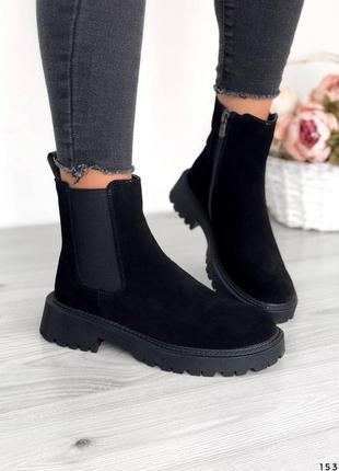 Женские демисезонные замшевые черные ботинки челси, натуральная замша