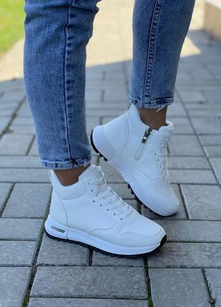 Осень-зима хайтопы женские кроссовки белые кеды кросівки жіночі кеди білі