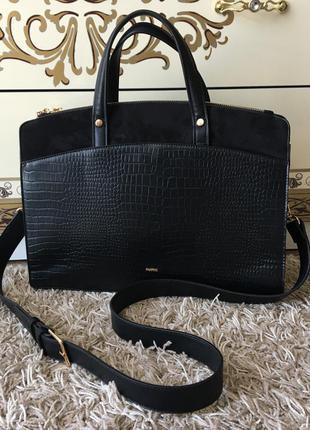 Большая черная сумочка сумка с коротким ручками parfois оригинал