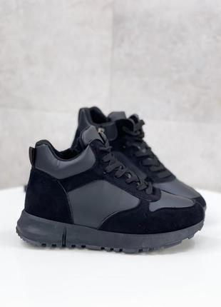 Осень-зима хайтопы женские чёрные кеды кроссовки кросівки жіночі кеди чорні