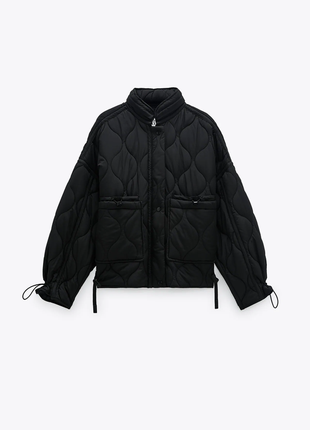 Стеганая черная куртка zara s