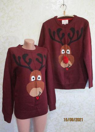 Новогодний свитер с оленем/family look/фемили лук/светр новорічний