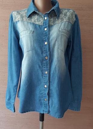 💜💖💙 красивенная джинсовая рубашка с ажуром