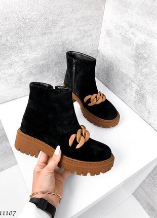🍁женские ботинки с цепью на платформе в натуральной замше