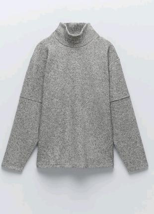 Мягкий свитер серого цвета zara s m l