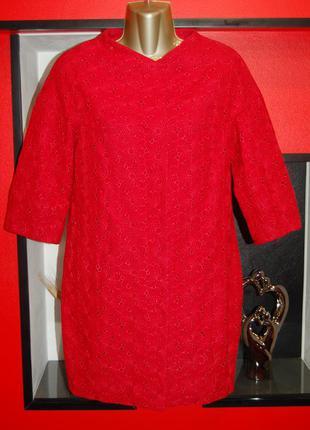 Новое красное осеннее пальто прямого кроя
