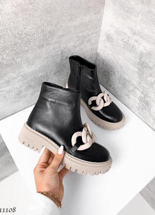 🍁женские ботинки с цепью на платформе в натуральной коже