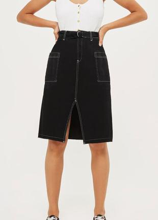 Новая чёрная джинсовая юбка миди с поясом 🖤 с замерами