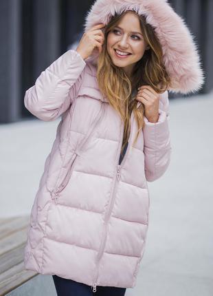 Пудровый пуховик куртка пальто ультрамодного пудрового цвета размер m-l !