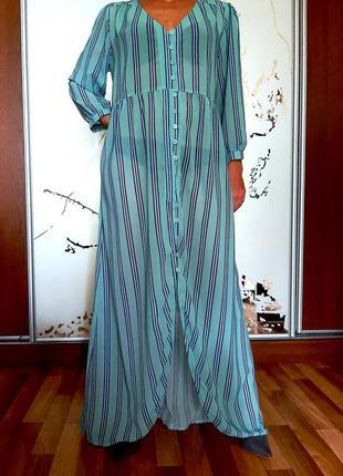 Бирюзовое пляжное платье-рубашка в полосочку