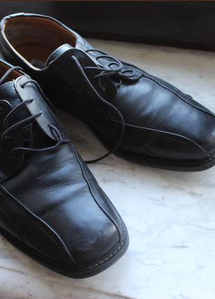 Итальянские кожаные чёрные мужские туфли (размер 45.5-46)