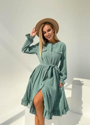 Вельветовое платье ментоловое мятное платье сарафан