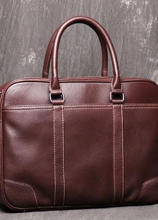 Мужская офисная коричневая сумка портфель для документов ноутбука из натуральной кожи
