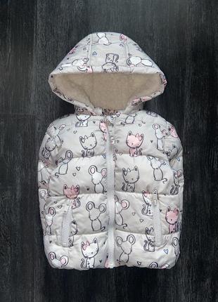 Зимняя куртка с котятами и мышатами от debenhams, 1,5-2,5 г