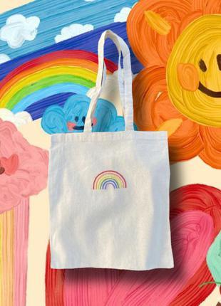"""Шоппер """"радуга"""" (эко сумка) ручная работа, вышивка, свой дизайн"""