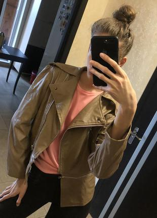 Карамельная курточка кожанка куртка эко кожа рыжая бежевая