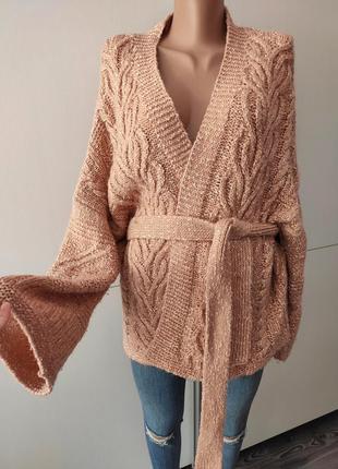 Кардиган свитер джемпер вязаный с поясом летучая мышь в стиле оверсайз limited xl