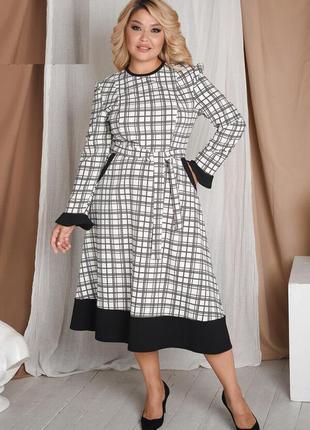 Расклешенное черно-белое платье размеры  48-50, 50-52, 52-54, 56-58, 60-62  (63574)