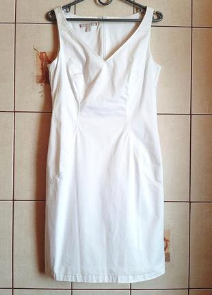 Белоснежное платье футляр из хлопка