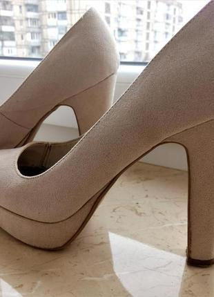 Базовые нюдовые 👠 замшевые туфли new look
