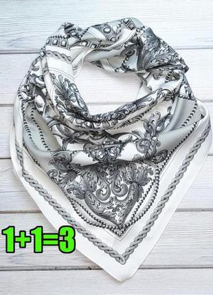💥1+1=3 красивый белый с серым платок в стиле ерме h&m