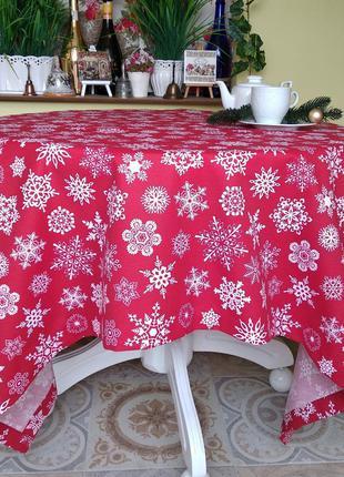 Новогодняя скатерть красная со снежинками 110*160 см с пропиткой