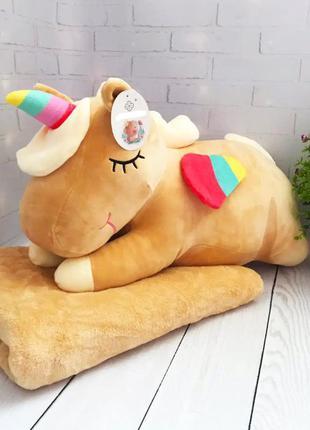 Детская плед-игрушка-подушка единорог