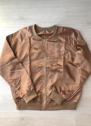 Золотой золотистый бомбер куртка курточка бежевый оранжевый коричневый