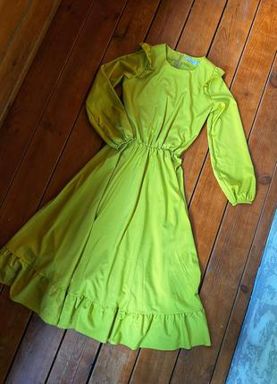 Горчичное макси платье