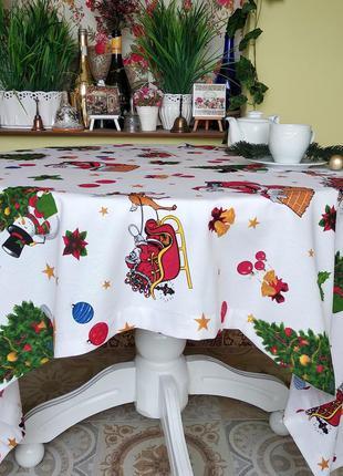 Новогодняя скатерть с дедом морозом 110*160 см с пропиткой