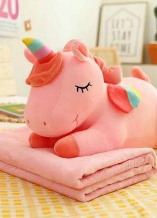 """Детский плед-игрушка-подушка """"спящий единорог"""" розовый"""