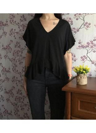 Шикарная чёрная женская блуза zara. размер s