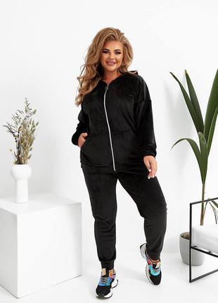 Велюровый женский прогулочный костюм черного цвета, 50, 52, 54, 56