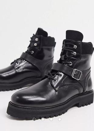 Натуральные кожаные ботинки кожа all saints